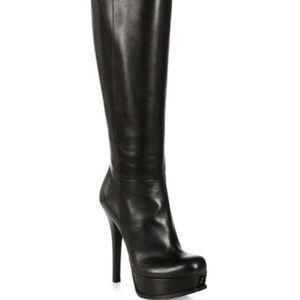 Black Leather Kneehigh Platform Boots